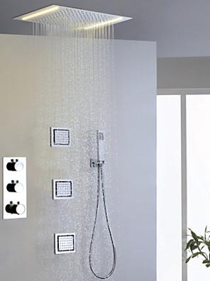 샤워 수전 - 모던 - LED / 자동 온도 조절 / 레인 샤워 / 사이드스프레이 / 핸드샤워 포함 - 황동 (크롬)