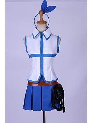 קיבל השראה מ סיפור אגדה Lucy Heartfilia אנימה תחפושות קוספליי חליפות קוספליי טלאים כחול בלי שרווליםעליון / חצאית / אביזר לשיער / אביזרי