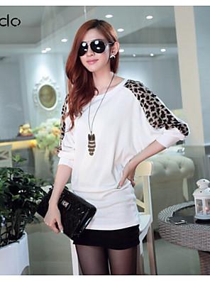 Mulheres Camiseta Casual Simples Outono,Leopardo / Patchwork Branco / Preto / Cinza Cashmere Manga Longa Média