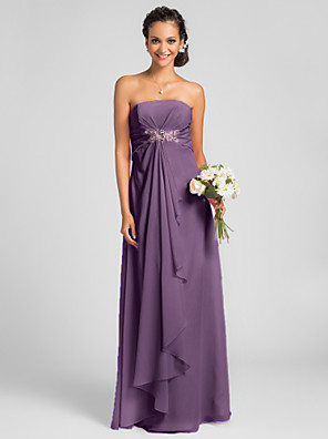 Floor-length Chiffon Bridesmaid Dress Sheath / Column Strapless Plus Size / Petite with Draping / Crystal Brooch / Criss Cross