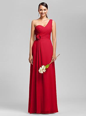 Lanting Bride® Longo Chiffon Vestido de Madrinha Tubinho Mula Manca / Coração Tamanhos Grandes / Mignon comPregueado / Flor(es) / Cruzado