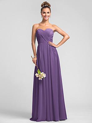 Lanting Bride® Na zem Šifón Šaty pro družičky - A-Linie Srdce Větší velikosti / Malé s Sklady / Křížení