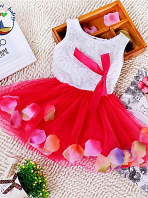 שמלה פרחוני תערובת כותנה קיץ כחול / ורוד / סגול / אדום / צהוב הילדה של
