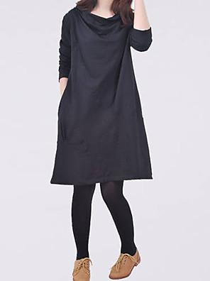 סתיו שחור / ירוק / סגול שרוול ארוך מעל הברך צווארון עגול שמלה משוחרר אמהות קשיח בינוני (מדיום)