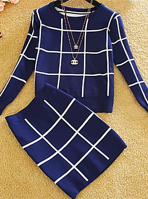Dámské Standardní Šatový Kostičky,Vícebarevná Dlouhý rukáv Kulatý Bavlna Zima Tlusté Lehce elastické