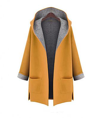 Damen Einfarbig Übergröße Trenchcoat,Herbst Mit Kapuze Langarm Rot / Gelb Mittel Wolle / Andere