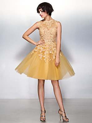 TS Couture® Cocktail Party Dress A-line Jewel Knee-length Lace / Tulle with Lace