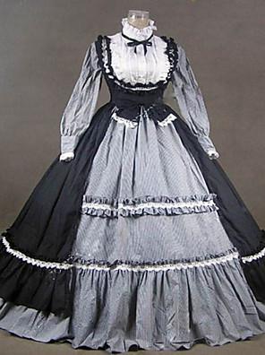 /שמלותחתיכה אחת לוליטה גותי Steampunk® / ויקטוריאני Cosplay שמלות לוליטה אפור וינטאג' שרוול ארוך ארוך שמלה ל נשים כותנה / תחרה / Terylene