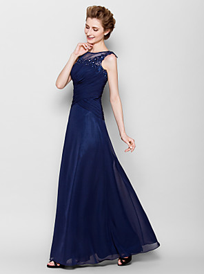 Sheath / Column Plus Size / Petite Mother of the Bride Dress - See Through Floor-length Sleeveless Chiffon with Appliques / Criss Cross