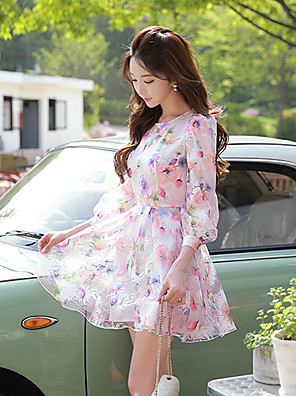 Pink Doll®Women's Round Neck Casual Party Print Puff Sleeve Skater Dress