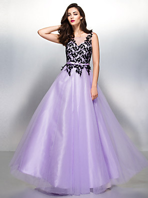 TS couture® 공식적인 저녁 / 검은 넥타이 축제는 레이스와 라인 V 넥 바닥 길이 레이스 / 얇은 명주 그물 드레스