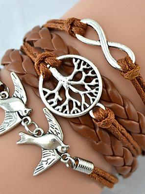 Armbanden Bedelarmbanden / Lederen armbanden / Wikkelarmbanden Leder Oneindigheid / Boom van leven Vriendschap / Verstelbaar Causaal