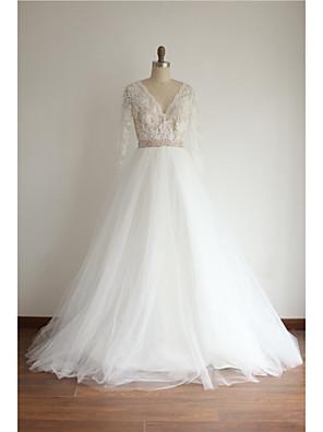 Linha A Vestido de Noiva Cauda Corte Decote V Renda / Tule com Miçanga / Renda / Faixa / Fita