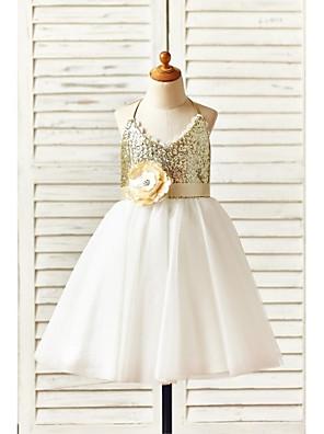 Γραμμή Α Μέχρι το γόνατο Φόρεμα για Κοριτσάκι Λουλουδιών - Τούλι / Με πούλιες Αμάνικο Δένει στο λαιμό με