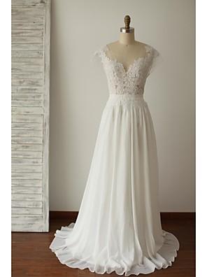 A-line Plus Sizes / Petite Wedding Dress - Chic & Modern Open Back / See-Through Wedding Dresses Sweep / Brush Train Scoop Chiffon / Lace