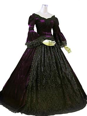 Jednodílné/Šaty Gothic Lolita Steampunk® / Viktoria Tarzı Cosplay Lolita šaty Fialová Jednobarevné Dlouhé rukávy Long Length Šaty Pro