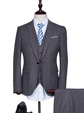 Suits Padrão Notch/ Paletó Comum 1 Butão Misto de Algodão Xadrez Gingham 3 Peças Azul Escuro