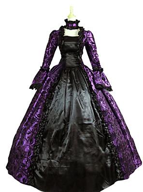 Jednodílné/Šaty Gothic Lolita Steampunk® / Viktoria Tarzı Cosplay Lolita šaty Fialová Retro Dlouhé rukávy Long Length Šaty / Náhrdelník