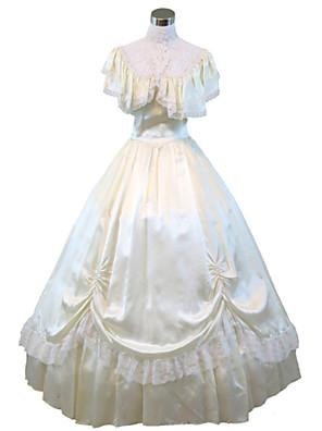 Jednodílné/Šaty Gothic Lolita Steampunk® / Viktoria Tarzı Cosplay Lolita šaty Béžová Jednobarevné Krátké rukávy Long Length Šaty Pro