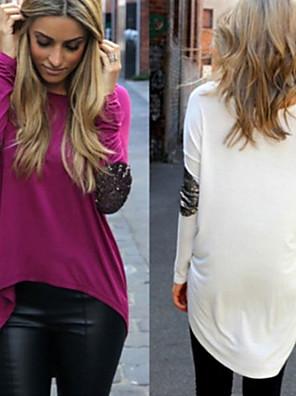 Bodycon / יומיומי / עבודה עגול - שרוול ארוך - נשים - חולצות טי ( אקרילי / תערובת כותנה )