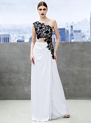 아플리케와 TS couture® 공식적인 저녁 / 검은 넥타이 갈라 드레스 칼집 / 열 어깨 하나 스윕 / 브러쉬 기차 저지