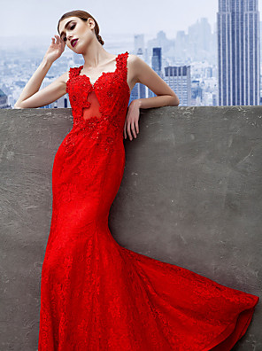 Formal Evening Dress Trumpet / Mermaid Sweetheart Sweep / Brush Train Lace with Appliques / Lace