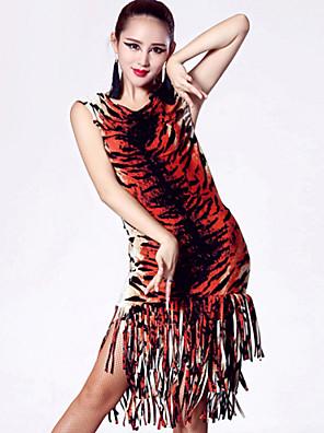 Latinské tance Šaty Dámské Výkon Nylon / elastan / Polyester Střapce Jeden díl Šaty Dress length S-XXL: 110cm