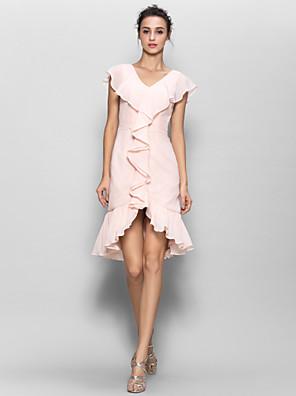 Lanting Bride® באורך  הברך שיפון שמלה לשושבינה  מעטפת \ עמוד צווארון וי עם כפתורים / קפלים מדורגים