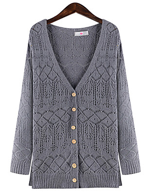 Women's Plus Size Vintage Long Cardigan,Solid / Geometric Blue / Gray Round Neck / Sweetheart Long Sleeve Cotton / Linen / Others Winter