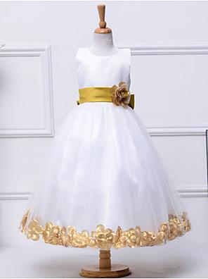 גזרת A באורך הקרסול שמלה לנערת הפרחים - כותנה / טול / פוליאסטר ללא שרוולים עם תכשיטים עם