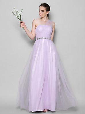 Lanting Bride® Longo Tule Vestido de Madrinha - Linha A Mula Manca com Detalhes em Cristal / Cruzado