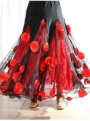 ריקודים סלוניים שמלות וחצאיות בגדי ריקוד נשים ביצועים ספנדקס עטוף חלק 1 חצאית Skirt length S-XXL : 90cm
