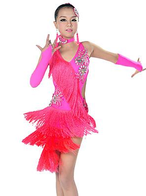 Dança Latina Roupa Crianças Actuação Elastano / Poliéster Borla(s) 5 Peças Sem Mangas Mangas / Vestidos / Neckwear / TiarasDress length