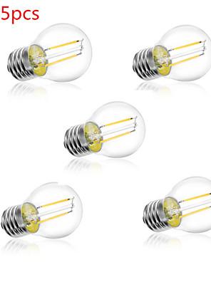 5pcs G45 2w E27 250lm 360 graders varm / kold hvid farve edison glødetråd lys førte glødelampe (AC220V)