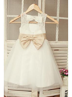 כלה לנטינג גזרת A באורך הקרסול שמלה לנערת הפרחים - תחרה / טול ללא שרוולים עם תכשיטים עם
