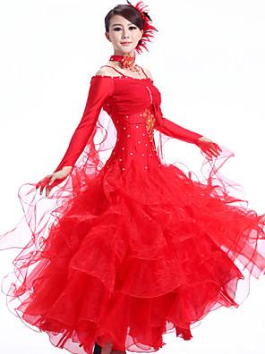 Dança de Salão Roupa Mulheres Actuação Elastano / Poliéster / Renda Cristal/Strass / Franzido 3 Peças Manga CompridaVestidos / Neckwear /