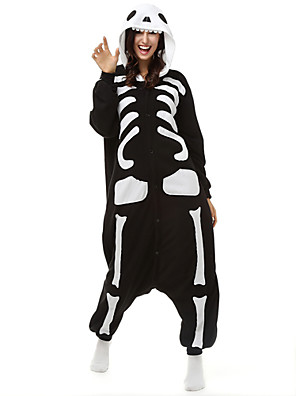 Kigurumi פיג'מות שלד /סרבל תינוקותבגד גוף פסטיבל/חג הלבשת בעלי חיים Halloween שחור ולבן דפוס פליז ארקטי Kigurumi ל יוניסקסהאלווין (ליל כל