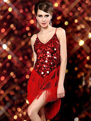 Latinské tance Šaty Dámské Výkon elastan / Polyester / Filtrový Flitry / Střapce Jeden díl Bez rukávů Šaty 57-76cm