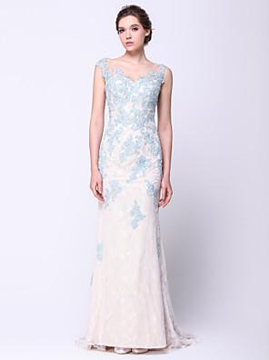 아플리케와 TS couture® 공식적인 이브닝 드레스 트럼펫 / 인어 특종 법원 기차 레이스