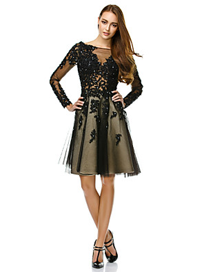 TS Couture® Cocktail Party / Company Party Dress A-line Bateau Knee-length Tulle with Appliques / Beading