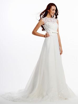 Lanting Bride® A-Linie Svatební šaty Velmi dlouhá vlečka Klenot Krajka / Organza s Knoflíky / Krajka