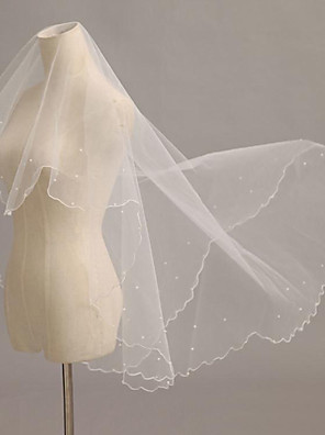 Wedding Veil One-tier Blusher Veils / Fingertip Veils / Communion Veils Pencil Edge / Pearl Trim Edge Tulle Ivory Ivory