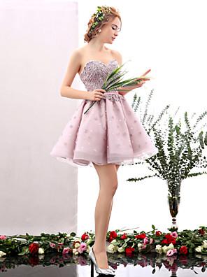 מסיבת קוקטייל שמלה גזרת A מחשוף לב קצר \ מיני טול עם פרח(ים) / פרטים מפנינה
