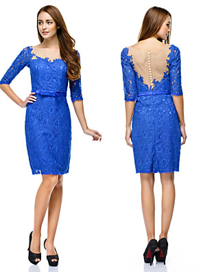 TS Couture® Cocktail Party / Company Party Dress Sheath / Column Scoop Knee-length Lace with Buttons / Lace