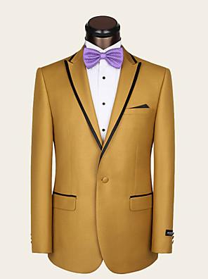 חליפות גזרה צרה פתוח Single Breasted One-button צמר / ויסקוזה חלק שני חלקים צהוב דש ישר ללא (חלק קדמי שטוח) צהוב ללא (חלק קדמי שטוח)