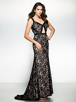 TS Couture® Formal Evening / Black Tie Gala Dress Trumpet / Mermaid Straps Sweep / Brush Train Satin with Lace