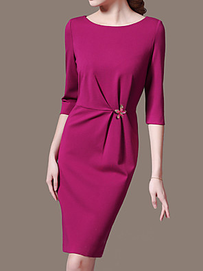 Sheath / Column Mother of the Bride Dress Knee-length 3/4 Length Sleeve Polyester with Crystal Detailing