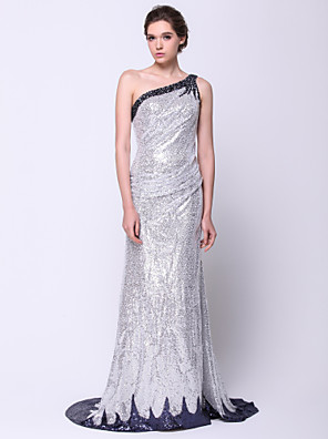 TS Couture® Formal Evening Dress Trumpet / Mermaid One Shoulder Sweep / Brush Train Sequined with Sequins