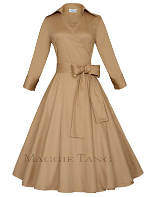 Maggie Tang Women's 50s VTG Retro Rockabilly Hepburn Pinup Swing Parka Business Dress 560