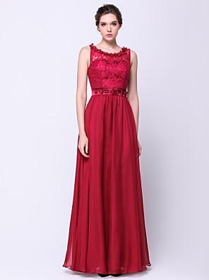 TS couture® 공식적인 저녁 꽃 (들) / 레이스와 라인 특종 바닥 길이 쉬폰 / 레이스 드레스